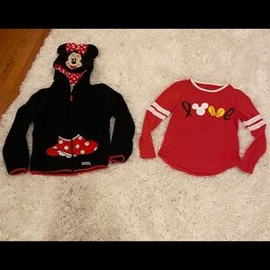 Kids Minnie Mouse hoodie and a Disney T-shirt.